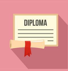 graduation diploma icon flat style vector image
