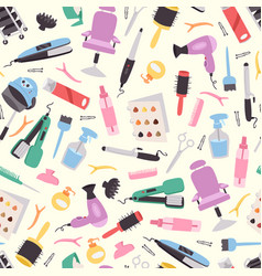 Hairdressing equipment seamless pattern vector