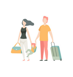 happy family travelling father mother and son vector image
