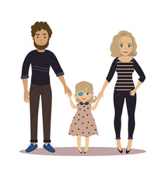 Happy family with disabled girl couple and child vector