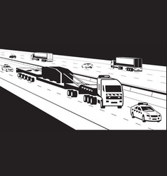 Heavy duty truck with pilot cars on highway vector