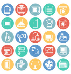 Home appliance icons set on color circles vector