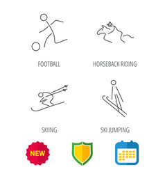 Horseback riding football and skiing icons vector