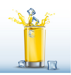 ice cubes splash in glass of orange juice vector image