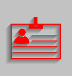 id card sign red icon with soft shadow on vector image