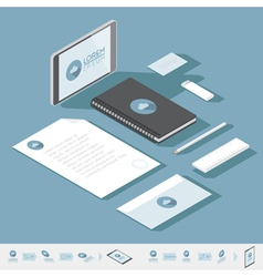 Isometric Corporate identity mock-up template vector