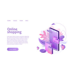 Isometric online shopping concept business vector