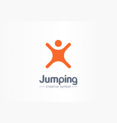 jumping playing freedom creative symbol concept vector image