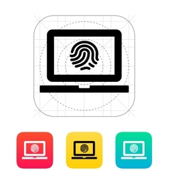 Laptop fingerprint icon vector image
