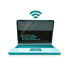 Laptop icon with free wi-fi vector