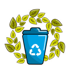 Leaves and can trash with recycling symbol inside vector