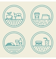 Linear badge templates fast food concept in vector