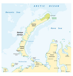 map archipelago nova zemlya russia vector image