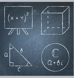 mathematics icons set in line style on chalkboard vector image