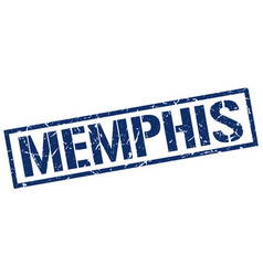 memphis blue square stamp vector image