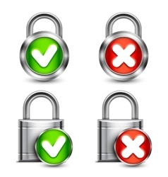 Metal Padlocks with Check Marks vector image