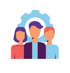 Modern core values icon with team professionals vector