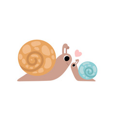 Mother snail and its baby cute gastropods family vector