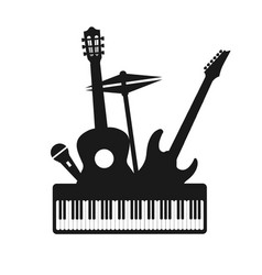 musical instruments decorative icons silhouette vector image