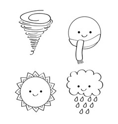 outlined icons decoration season weather vector image