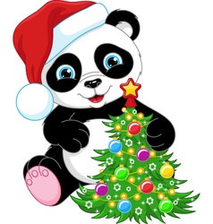 Panda and Christmas Tree vector