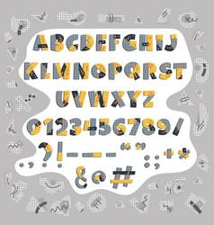 Papercut colorful alphabet cute geometric vector