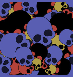 pattern of skulls of different colors vector image