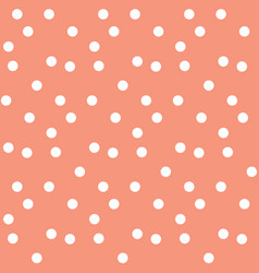 Peach colour background in white dots seamless vector