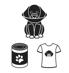 Pet dog black icons in set collection for design vector