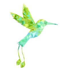 Polygonal hummingbird silhouette vector