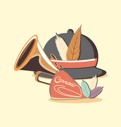 retro classic hat with feathers and trumpet vector image