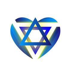 Sacred symbol star of david in heart shield of vector