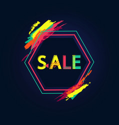 sale poster with big sign and bright paint touches vector image