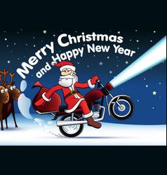 santa new year card vector image