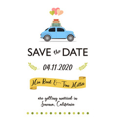 save date lettering card with retro car and vector image