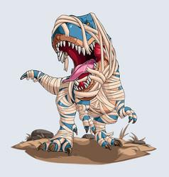 Scary mummy dinosaur trex roaring for halloween vector