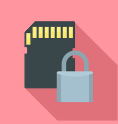 Secured sd card icon flat style vector