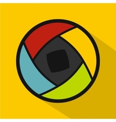 Semi-closed lens icon flat style vector