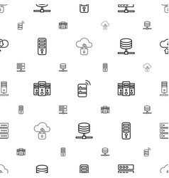 server icons pattern seamless white background vector image