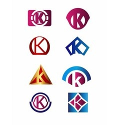 Set of letter K logo Branding Identity Corporate vector image