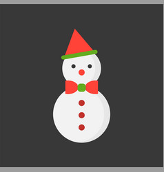 Snowman and bow tie flat icon christmas theme set vector
