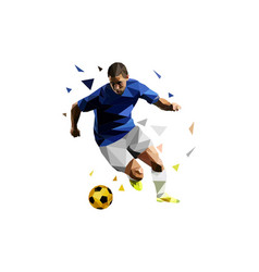 soccer player dribbling ball polygonal vector image