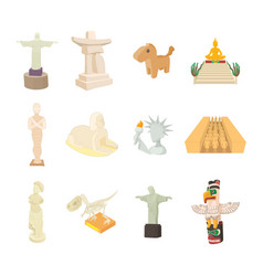Statue icon set cartoon style vector
