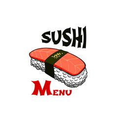 Sushi japanese bar salmon roll icon vector