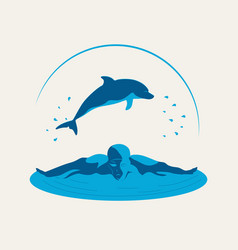 swimmer and dolphin vector image