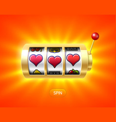 Three heart symbols on gold slot machine vector
