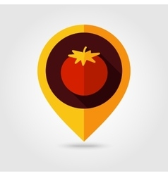 Tomato flat mapping pin icon vector image