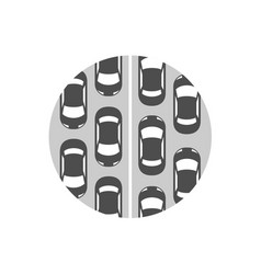 Traffic jam icon cars in a rows symbol vector