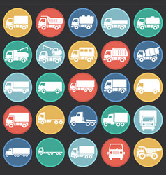 truck icons set on color circles black background vector image
