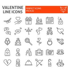 valentines day line icon set romance symbols vector image